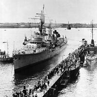 The German training ship Karlsruhe,, at Kiel, Germany, on June 18, 1934. (AP Photo)