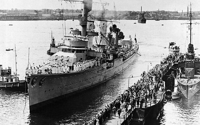 The German training ship Karlsruhe,, at Kiel, Germany, on June 18, 1934. (AP Photo)