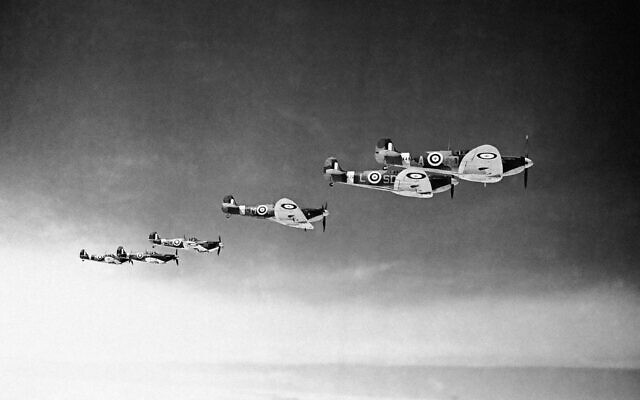 UK Royal Air Force night fighters made Nazi raiders pay dearly for their temerity.  Spitfires on patrol, on June 20, 1941. (AP Photo)