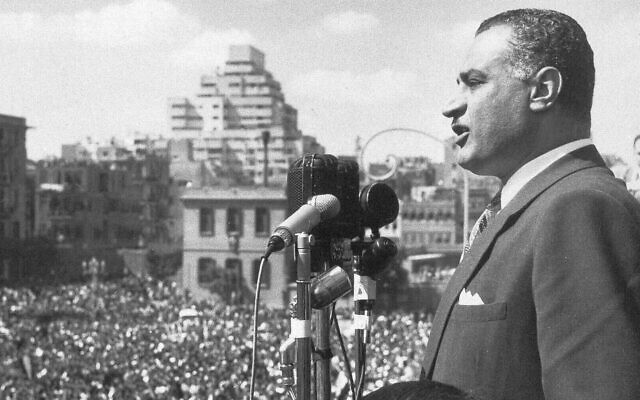 Gamal Abdel Nasser, president of Egypt, addresses a huge crowd gathered in Republic Square, Cairo, Feb. 22, 1958, from a balcony of the National Union building, after he was elected the first president of the United Arab Republic (AP Photo)