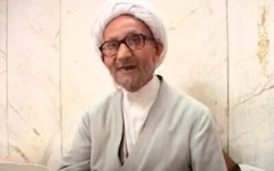 Ayatollah Yousef Saanei October 8, 2008. (Screengrab: YouTube)