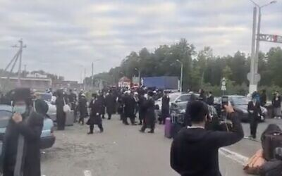Screen capture from video of Bratslav Hasidim at the border between Belarus and Ukraine, September 2020. (Haderim10)