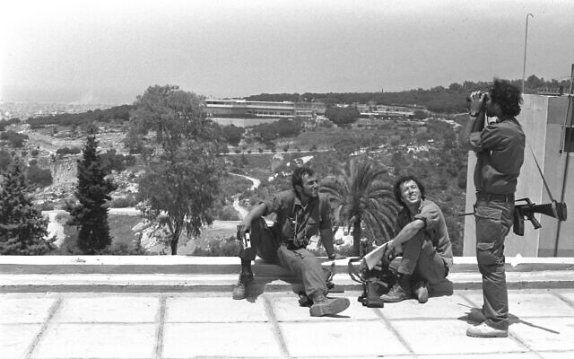 Illustrative: Israeli soldiers rest on a rooftop overlooking the Lebanese president's home on the outskirts of Beirut, June 16, 1982. (Israeli GPO/ Yoel Kantor)