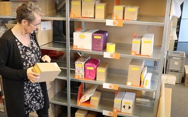 Screen capture from video of parcels in a Dutch post office. (YouTube)