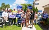 Lara Trump, front and center, campaigned with Laura Loomer, on the right. Loomer is the Republican congressional candidate in the Florida district that includes President Trump's Mar-a-Lago resort. (Twitter via JTA)