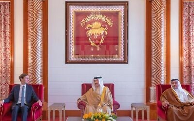 Jared Kushner (right) meets Bahrain's king and crown prince in Manama in early September, 2020, in an image posted by Ivanka Trump on September 12 (Twitter)