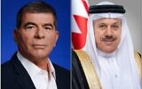 Israel's Foreign Minister Gabi Ashkenazi (left) and his Bahraini counterpart Abdullatif bin Rashid Al Zayani, as pictured in a tweet from the Bahrain foreign ministry after their first publicly acknowledged phone call, September 12, 2020 (Twitter)
