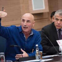 Yesh Atid leader Yair Lapid (R) and MK Ofer Shelah at a Knesset Foreign Affairs and Defense Committee meeting on November 19, 2015. (Miriam Alster/Flash90)