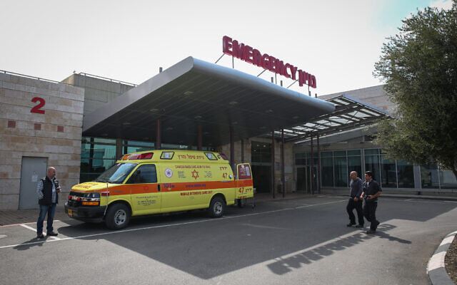 Illustrative -- An ambulance the entrance to the emergency unit at Ziv Medical Center in Safed, on March 6, 2019 (David Cohen/Flash90)