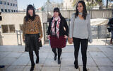 Australian sisters Elly Sapper, Dassi Erlich and Nicole Meyer who were allegedly sexually abused by former headteacher Malka Leifer arrive for a court hearing at the District Court in Jerusalem, March 6, 2019.  (Yonatan Sindel/Flash90)