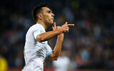Israeli national team player Eran Zahavi celebrates a goal during the Euro 2020 qualifying football match between Israel and Austria at the Sammy Ofer Stadium, in Haifa, on March 24, 2019. (Roy Alima/ Flash90)
