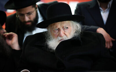 Rabbi Chaim Kanievsky in the northern Israeli city of Safed, February 26, 2020. (David Cohen/Flash90)