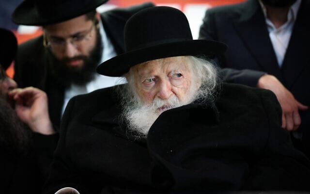 Rabbi Chaim Kanievsky in the northern Israeli city of Safed, February 26, 2020. (David Cohen/Flash90)