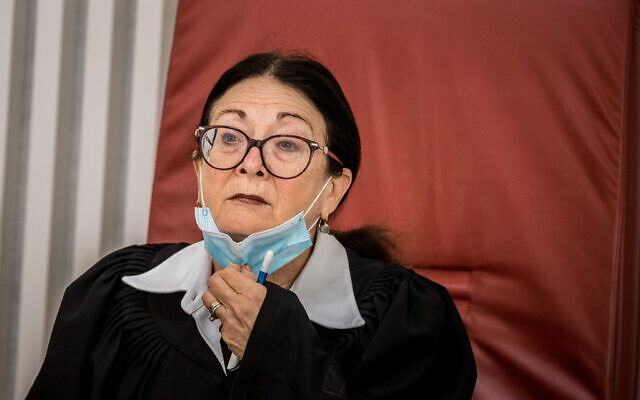 Chief Justice Esther Hayut, at the Supreme Court on May 11, 2020. (Yonatan Sindel/Flash90)