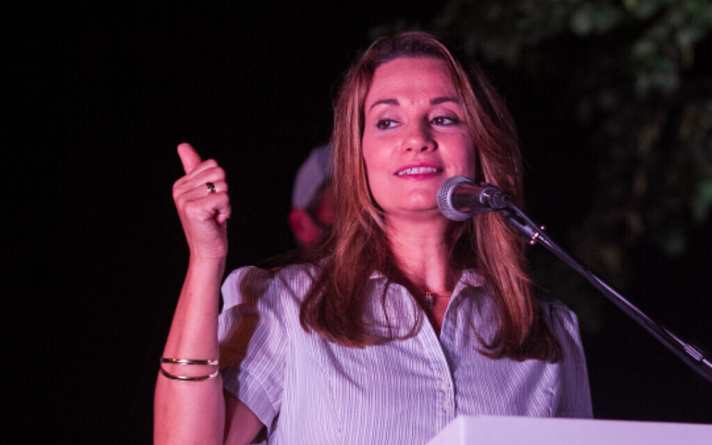 Likud MK Yifat Shasha-Biton speaks outside her home in Zichron Yaakov, on August 2, 2020 (Flash90)