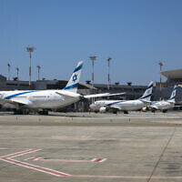 El Al airplanes parked at Ben Gurion International Airport, August 8, 2020. (Olivier Fitoussi/FLASH90)
