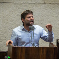 Yamina MK Bezalel Smotrich speaks during a Knesset plenary session at the Knesset, on August 24, 2020. (Oren Ben Hakoon/POOL)