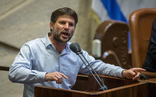 Yamina MK Bezalel Smotrich speaks during a Knesset plenum session in Jerusalem on August 24, 2020. (Oren Ben Hakoon/Pool/Flash90)