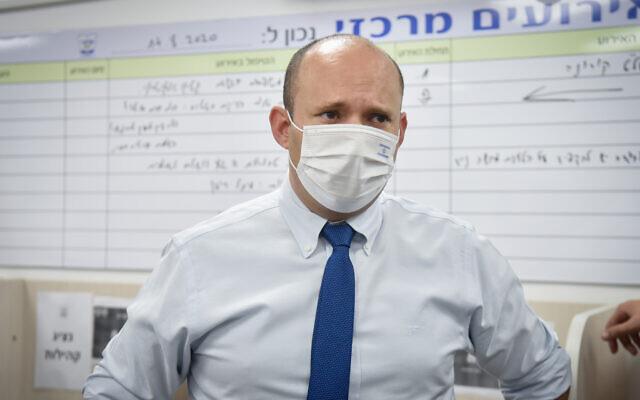 Naftali Bennett visits the ultra-Orthodox city of Elad, September 6, 2020 (FLASH90)