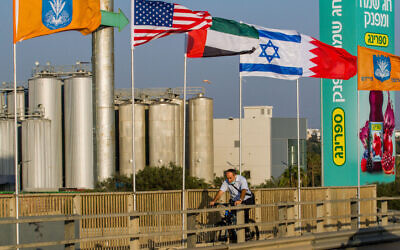 The flags of the US, the United Arab Emirates, Israel and Bahrain seen on the side of a road in Netanya, September 14, 2020. (Flash90)