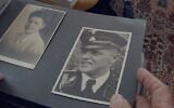 Screen capture from the Holocaust documentary film 'Final Account' of a former Nazi member of the SS looking at photographs. (video screenshot)