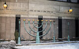 A memorial for victims of the Holocaust outside of Stockholm's Great Synagogue, January 27, 2019. (Michael Campanella/Getty Images via JTA)