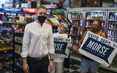 Alex Morse in a convenience store in Springfield, Massachusetts, Aug. 26, 2020. (Erin Clark/The Boston Globe via Getty Images)