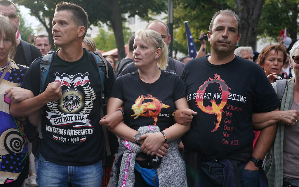 A group of Germans who follow the QAnon conspiracy theory protest in Berlin, August 29, 2020. (Sean Gallup/Getty Images via JTA)
