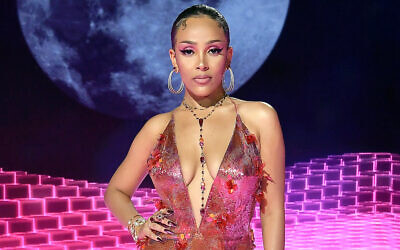 Doja Cat attends the 2020 MTV Video Music Awards, broadcast on Sunday, August 30, 2020. (Frazer Harrison/Getty Images for RCA via JTA)