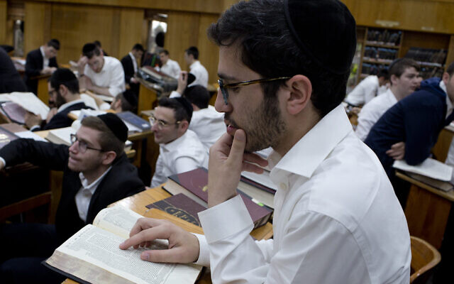 Illustrative: Students at the Darchei Torah Boys School study during a visit to the school by the US Secretary of Education Betsy DeVos, May 16, 2018 in the Far Rockaway neighborhood of the Queens borough in New York City. (Photo by Andrew Lichtenstein/Corbis via Getty Images via JTA)