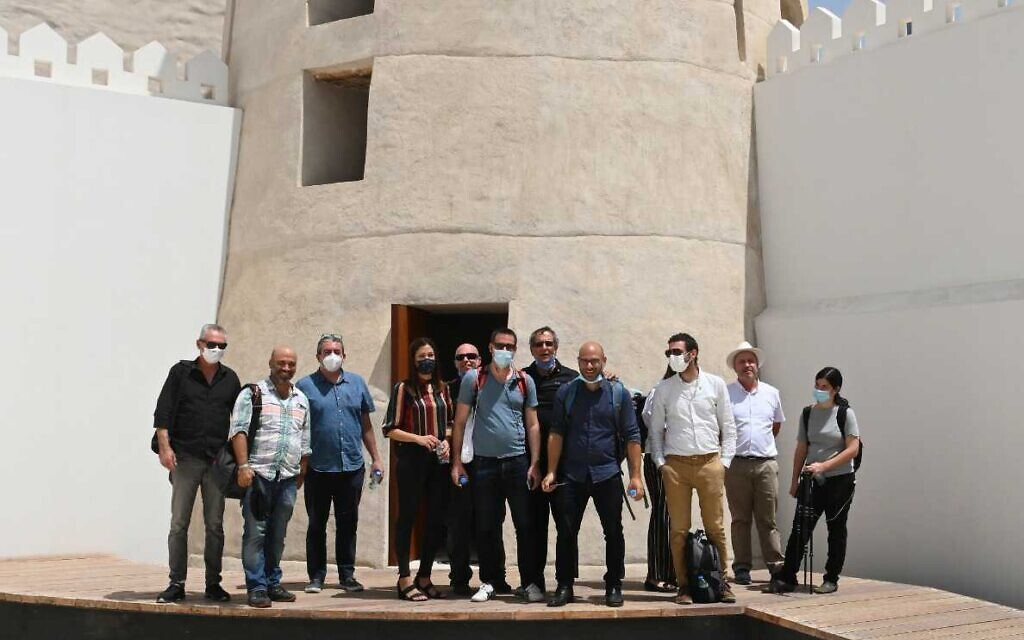 Israeli reporters at the historic watchtower in Abu Dhabi, September 1, 2020 (Matty Stern/US Embassy)