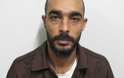 Bedouin-Israeli Mahmoud Makdad who planned to bomb a bus stop at the Bilu Junction, according to a Shin Bet statement on September 7, 2020. (Shin Bet)