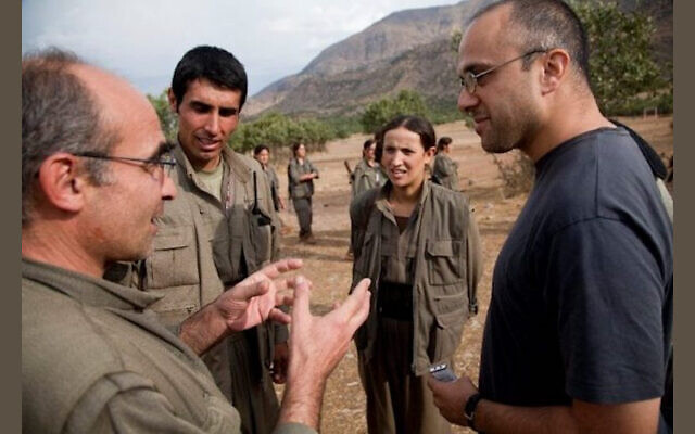 Jonathan Spyer on right, visiting the Qandil mountains, Iraqi-Kurdistan, 31 March 2011. (Facebook)