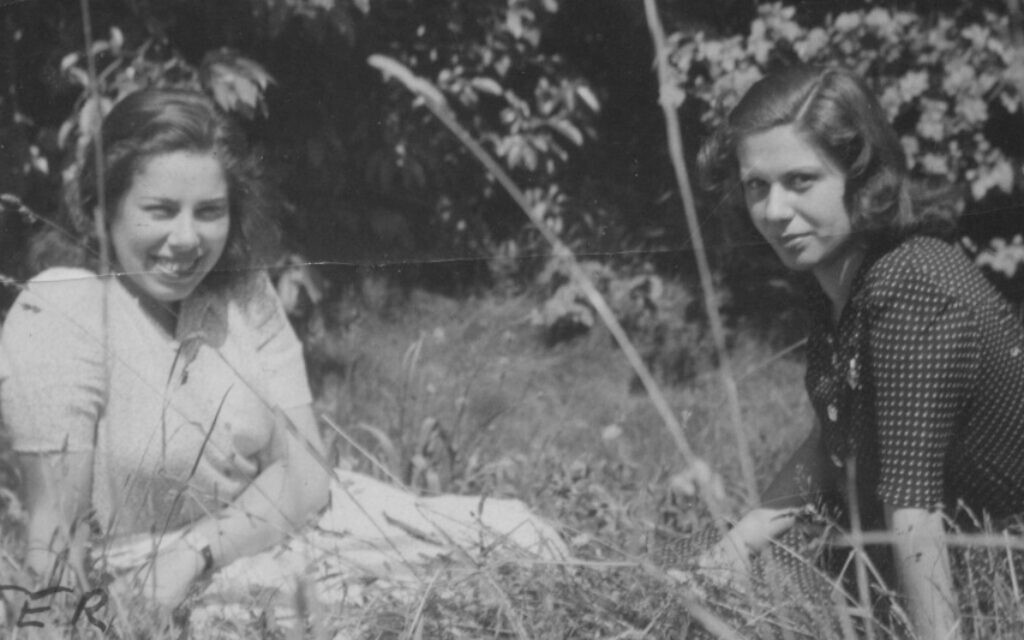 Franci Rabinek (left) and her cousin Kitty in Celle, Germany after their liberation from Bergen-Belsen, July 1945. (Courtesy of Helen Epstein)