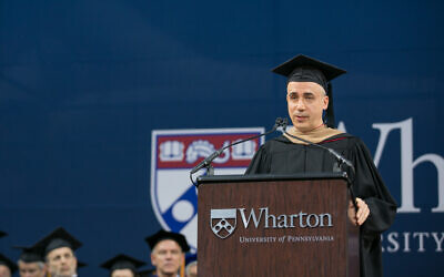 Yuri Milner, giving the commencement speech for Wharton MBA students of class 2017. (The Wharton School, University of Pennsylvania)