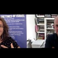 Times of Israel Deputy Editor Amanda Borschel-Dan speaks with best-selling philosopher Micah Goodman for ToI's Behind the Headlines series. (screenshot)
