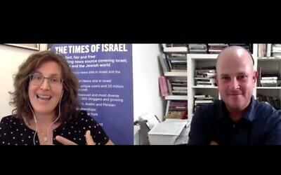 Times of Israel Deputy Editor Amanda Borschel-Dan speaks with best-selling philosopher Micah Goodman for ToI's Behind the Headlines series. (screenshot)
