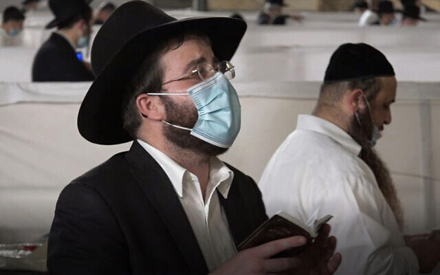 In the men's section at Jerusalem's Western Wall, September 2020 (Ricki Rosen/Times of Israel)