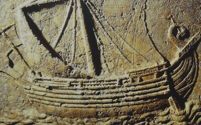 Illustrative: Carving of a Phoenician ship on a sarcophagus dating to the 2nd century CE. (Wikipedia/Elie plus/CC BY-SA)