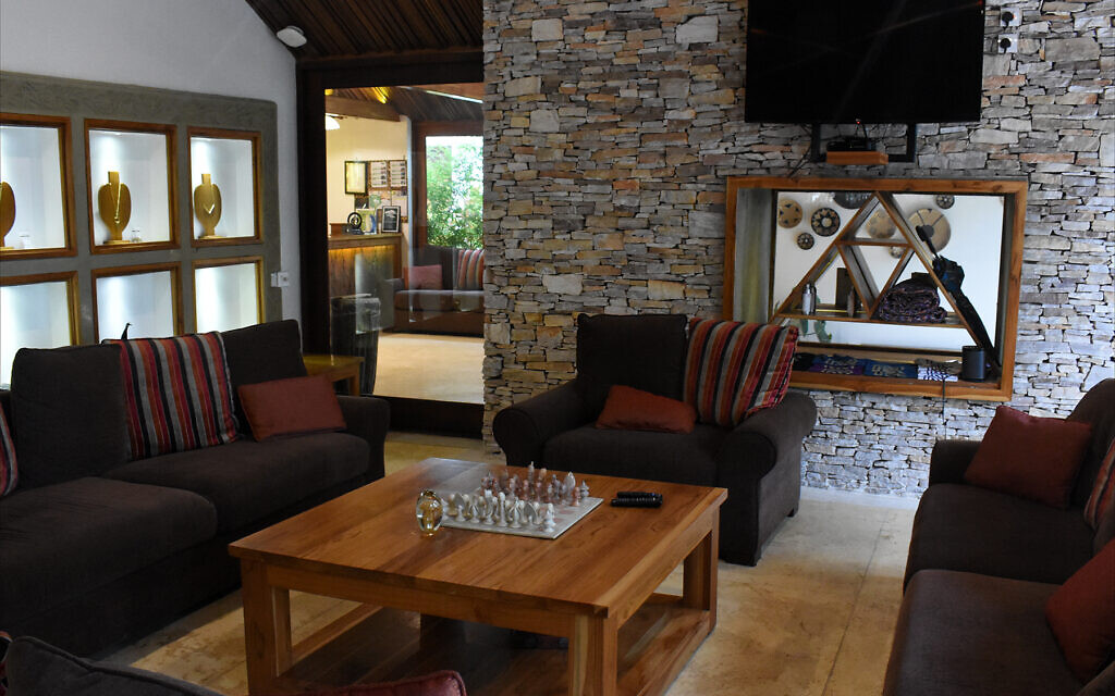 Lodge at Heaven Retreat in Kigali is adjacent to the property's Fusion restaurant, February 2020. (Larry Luxner/Times of Israel)