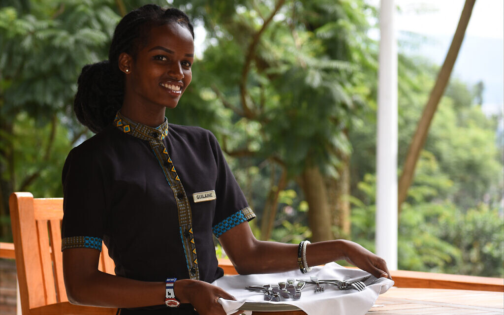 Guilene Iradukunda is a waitress working at Heaven Retreat in Kigali. (Larry Luxner/Times of Israel)