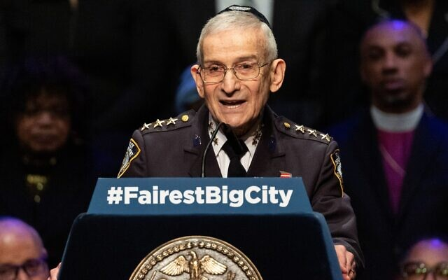 New York City Police Department Chaplain Rabbi Alvin Kass gives the invocation at the State of the City Address in New York City. (Michael Brochstein/SOPA Images/LightRocket via Getty Images)