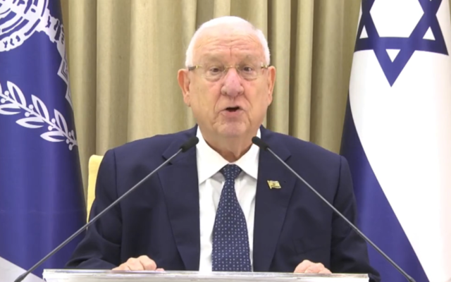 President Reuven Rivlin addresses the nation in a televised speech from his official residence in Jerusalem on August 16, 2020. (Screen capture: Facebook)