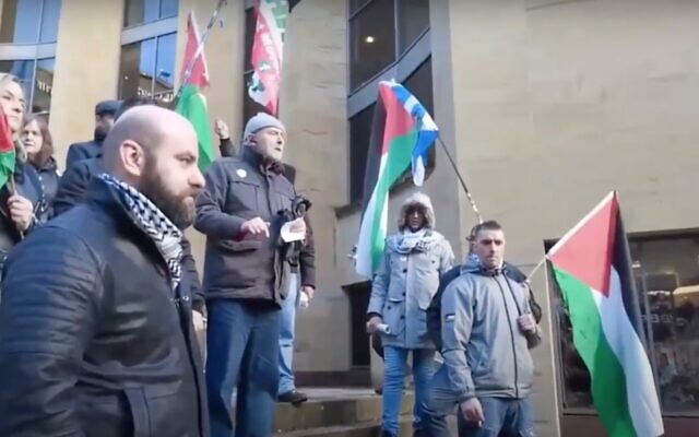Screen capture from video of a Scottish Palestine Solidarity Campaign rally. (YouTube)