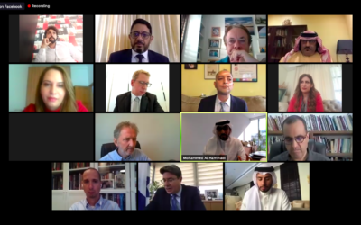 A screenshot from a webinar during which Israeli journalists, officials and communications professionals discussed the media's role in advancing Arab-Israel peace with media professionals from numerous Arab countries, September 21, 2020 (courtesy)