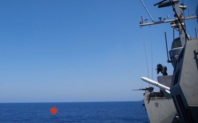 The Israeli Navy and Defense Ministry tests a new missile in September 2020. (Israel Defense Forces)