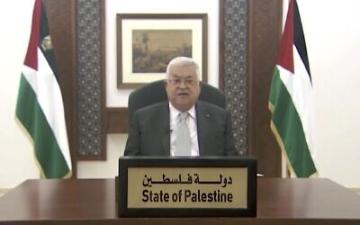 Palestinian Authority Mahmoud Abbas gives a pre-recorded speech aired at the UN General Assembly on September 25, 2020. (Screen capture: UN)