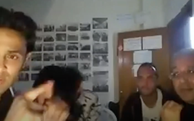 Rami Aman, 38, speaks to Israeli activists during a videoconference in April before being arrested by Hamas authorities (Screenshot: Youtube)