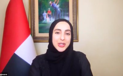 UAE Minister of State for Youth Affairs Shamma Al Mazrui addressing the Jewish Community of the Emirates' weekly pre-Shabbat Zoom meeting, September 26, 2020 (screen grab)