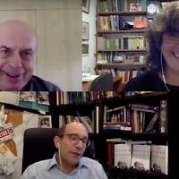 Clockwise from top left: Former Prisoner of Zion Natan Sharansky, ToI Jewish World editor Amanda Borschel-Dan, and historian Gil Troy, discuss the new book, 'Never Alone.' (screenshot)